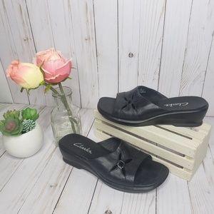 Clarks Black Leather Floral Cutout Slide Sandals